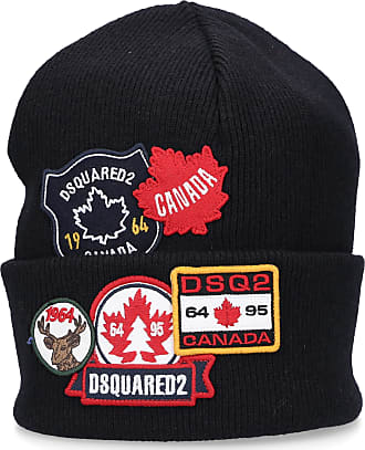 Dsquared2 Beanie KNIT BEANIES Wool Embroidery Patch black