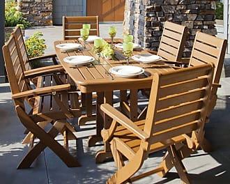 POLYWOOD Outdoor POLYWOOD Signature Dining Set - Seats 6, Patio Furniture - PWS151-1-GY