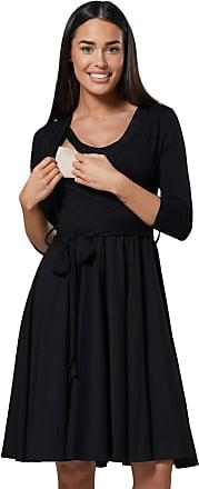 Happy Mama Womens Maternity Skater Dress 3/4 Sleeves 525p (Black, UK 14/16, XL)