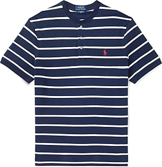 Polo Ralph Lauren Slim-fit Striped Cotton-piqué Henley T-shirt - Navy