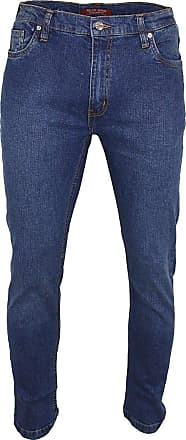 Relco Mens London Slim Fit Stretch Jean Zip Fly - Blue Faded Denim