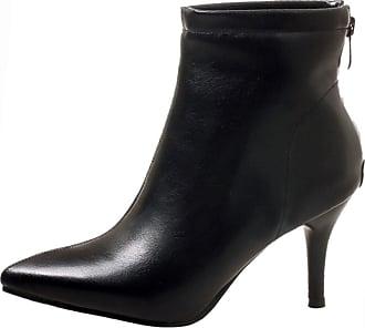RAZAMAZA Women Fashion High Heel Ankle High Boots Zipper Shoes Black Size 40 Asian
