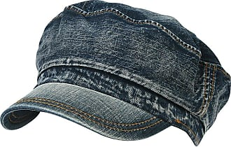 Ililily Vintage Washed Denim Military Solid Color Cotton Cadet Cap Flex-fit Army Camo Style Hat (cadet-524-1)