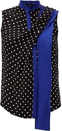 Haider Ackermann Scarf Polka-dot Crepe Blouse - Womens - Black Blue