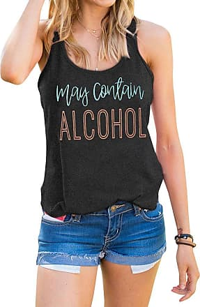 Dresswel YUHX Women Summer Vest Top May Contain Alcohol Casual Round Neck Sleeveless Tank Tee Racerback Camisole Shirts Black