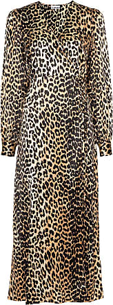 Ganni leopard print midi dress - Brown