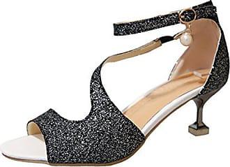 13c5d33cbdf00a Aiyoumei Glitzer Peeptoe Knöchelriemchen Sandalen mit Kleinem Absatz Kitten  Heel 5cm Absatz Schuhe Damen