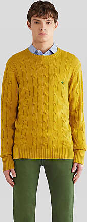 Etro Wool Cable Jumper With Pegaso, Man, Yellow, Size XXL