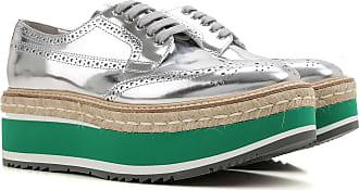 Prada Chaussure à Talon Compensé Femme Pas cher en Soldes Outlet, Argent,  Verni, e7f6f5506669