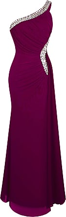 Angel Fashions Womens One Shoulder Ruching Beading Ribbon Soft Evening Gown - Purple - XX-Large