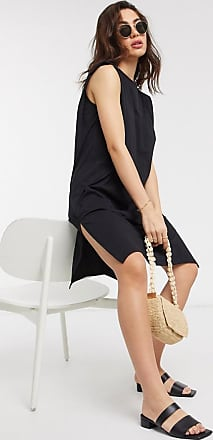 Vila mini dress with high neck and side split in black