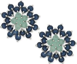 Renata Rancan Brinco Flor Cravejado com Zircônias Banho em Ródio - Azul, Verde Piscina