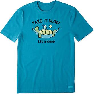 Life is good Mens Take It Slow Turtle Hammock Crusher Tee XXXL Heather Seaport Blue