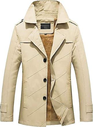 H&E Mens Casual Plus Size Lapel Fleece-Lined Outwear Jackets Coat Beige X-Large