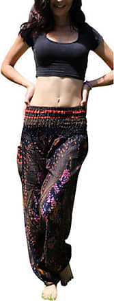 ZongSen Womens Loose Harem Trousers Aladin Hippy Boho Gypsy Summer Beach Yoga Pants Black One Size