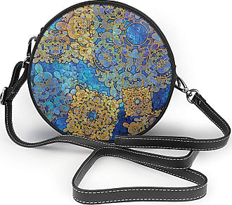 Turfed Traditional Persian Motif Round Crossbody Bag Women PU Shoulder Bag Circle Purse Messenger Bag With Adjustable Straps