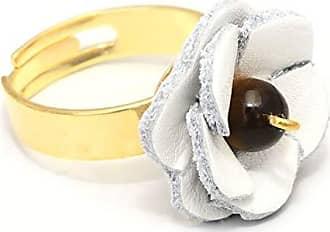 Tinna Jewelry Anel Dourado Flor Couro (Branco)