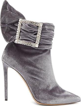 Alexandre Vauthier Yasmine Crystal-embellished Velvet Ankle Boots - Womens - Grey