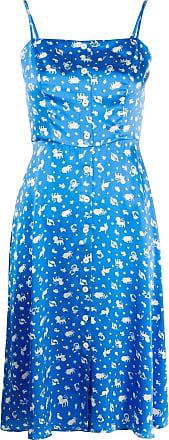 HVN Vestido de cetim com estampa - Azul