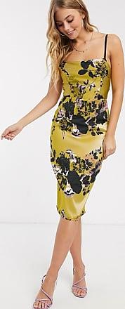 Little Mistress pencil dress in statement gold jacquard