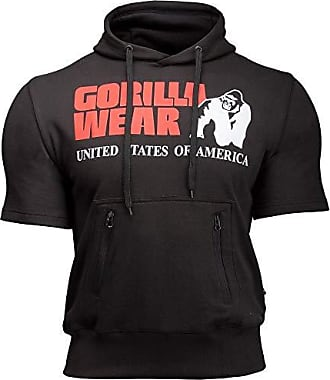 Kurzarm Sport Hoodie Herren Boston Short Sleeve Fitness Bodybuilding T-Shirt Gorilla Wear