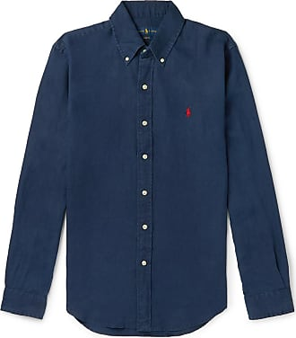 Polo Ralph Lauren Slim-fit Button-down Collar Linen Shirt - Navy
