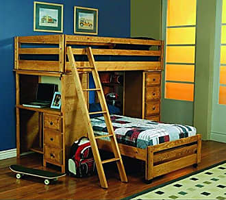 Coaster Fine Furniture Wrangle Hill Twin Over Twin Loft Bed with Built-in Desk, Amber Wash
