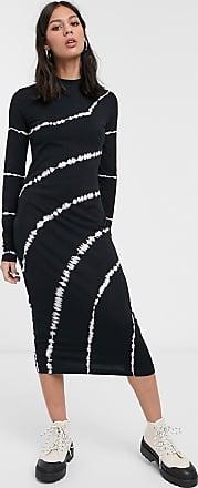 Weekday Meja - Langärmliges, schwarzes Kleid in Batikoptik