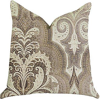 Plutus Brands Tawny Isabella Damask Double Sided Luxury Throw Pillow 22 x 22 Brow/Grey/Beige