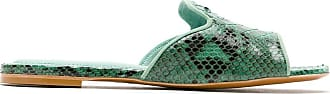 Blue Bird Shoes Shower flat em couro Python - Verde