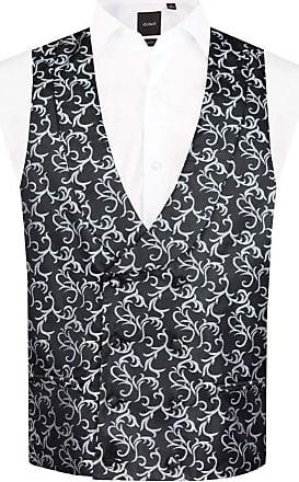 Dobell Mens Black/Silver Waistcoat Double Breasted Shawl Lapel Edwardian Swirl-S (34-36in)