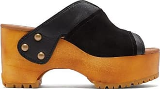 See By Chloé Suede-trimmed Platform Leather Clogs - Womens - Black