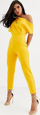 Asos Jumpsuit aus Neopren mit One-Shoulder-Träger und Biesen-Gelb