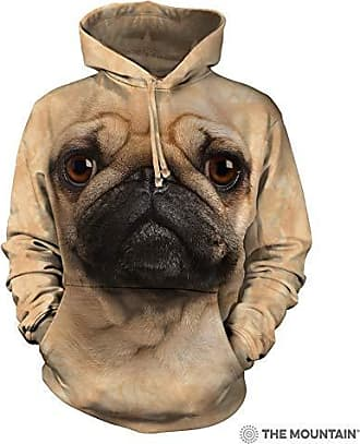 The Mountain Pug Face Hsw Adult Hoodie, Tan, Large