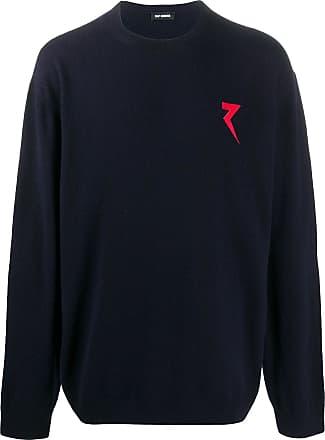 Raf Simons Suéter de tricô com patch de logo - Azul