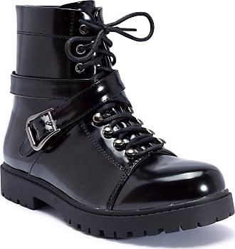 Truffle Colt4 Black Shiny Ankle Boots Cross Over Strap Flat Combat Boot[Ladies UK 6 / EU 39]
