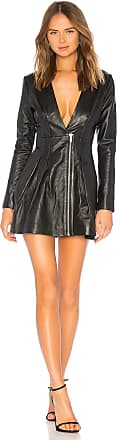 X by NBD The Caribou Leather Dress in Black