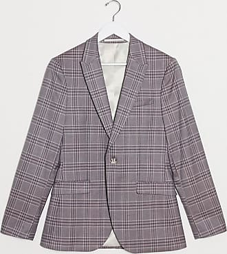 Topman skinny fit checked suit jacket in pink