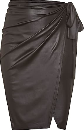 Yours Clothing Clothing Womens Plus Size Leather Look Wrap Skirt Size 24 Black