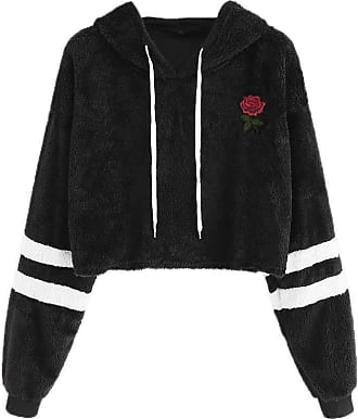 NPRADLA Fashion Women Autumn and Winter Casual Long Sleeve Appliques Drawstring Teddy Floral Hooded Hoodie Sweatshirt Black