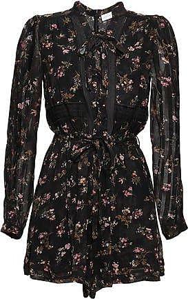 4242dc6fd5 Zimmermann Zimmermann Woman Lace-up Floral-print Crepe Playsuit Black Size 3