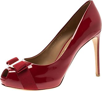 70d8730f3657 Salvatore Ferragamo Red Patent Leather Plum Peep Toe Platform Pumps Size 41