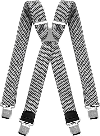 Decalen Mens braces wide adjustable and elastic suspenders X shape with a very strong clips Heavy duty (Silver)