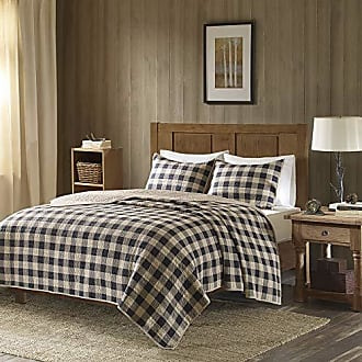 Woolrich Buffalo Check King/Cal King Size Quilt Bedding Set - Tan, Checker Plaid - 3 Piece Bedding Quilt Coverlets - 100% Cotton Bed Quilts Quilted Coverlet
