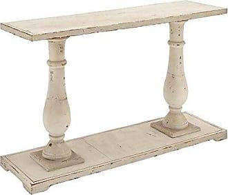 UMA Enterprises Inc. Deco 79 Rectangular Antique White Wood Console Table With Carved Base, 48 x 32