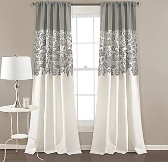 Triangle Home Fashions Lush Decor Estate Garden Print Curtains Room Darkening Window Panel Set for Living, Dining, Bedroom (Pair), 84 x 52, Gray