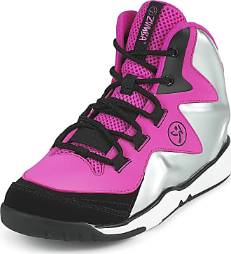 Zumba Energy Boom High Top Athletic Shoes Dance Training Workout Women Shoes, Pink/Silver, 4.5 UK