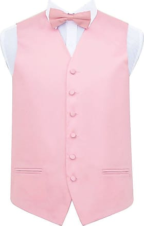 DQT Plain Glossy Satin Wedding Waistcoat, Bow Tie & Pocket Square for Men + Free Cufflinks | Baby Pink 44