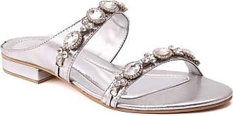 Unze Unze Women Alisa Dual Strap Diamante Embellished Slide Formal Evening Flat Wedding Evening Slippers UK Size 3-8 - MHK-20008 Silver