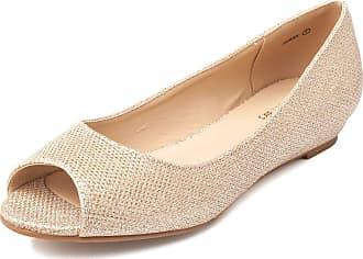 Dream Pairs Dories Womens Peep Toe Ballet Slip On Flats Shoes Gold Glitter Size 7.5 US/5.5 UK